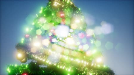 önemsiz şey : Joyful studio shot of a Christmas tree with colorful lights