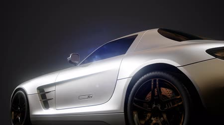 двухместная карета : luxury sport car in dark studio with bright lights