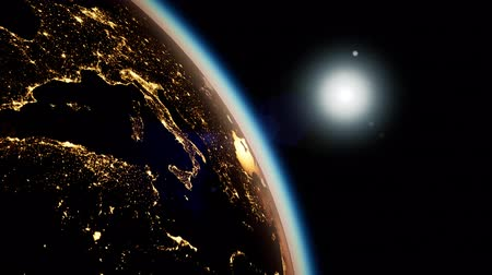 continent : Space, Sun and planet Earth at Night