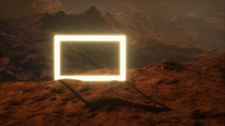 marciano : Neon Portal on Mars Planet Surface With Dust Blowing Archivo de Video