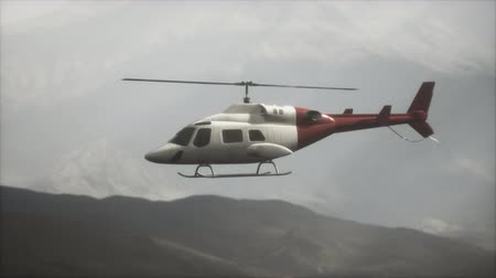 ротор : extreme slow motion flying helicopter near mountains with fog