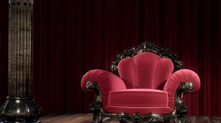 samet : luxurious theater curtain stage with chair