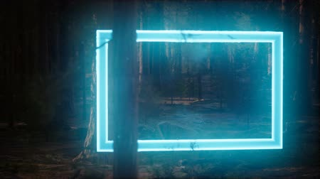 gölgeler : Neon glowing rectangle frame in the night forest Stok Video
