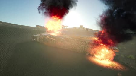 турель : burned tank in the desert at sunset