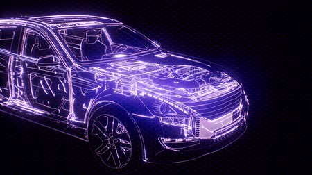сцепление : Holographic animation of 3D wireframe car model with engine