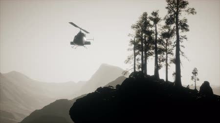 platane : extreme slow motion flying helicopter near mountain forest