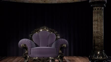 opona : luxurious theater curtain stage with chair