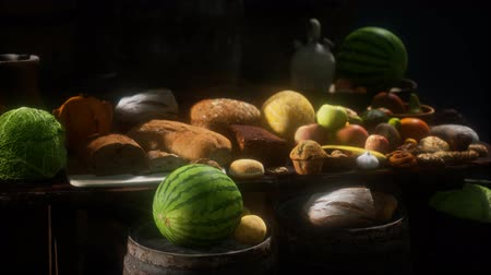 abobrinha : food table with wine barrels and some fruits, vegetables and bread