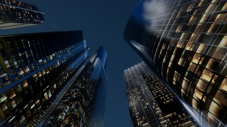 dark bay : City Skyscrapers at Night Stock Footage