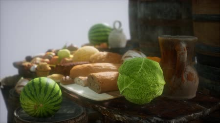 pears : food table with wine barrels and some fruits, vegetables and bread