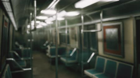 cabins : Inside of the old non-modernized subway car in USA Stock Footage