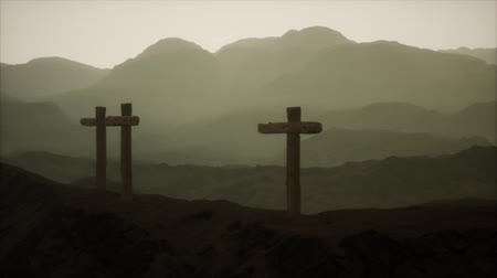 crucified : wooden Crucifix cross at mountain Stock Footage