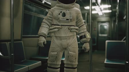 vagoneta : Astronaut Inside of the old non-modernized subway car in USA