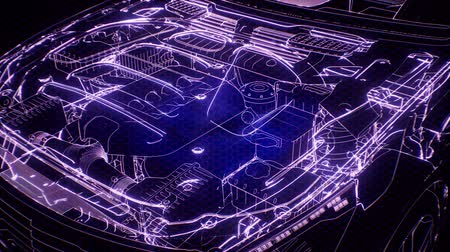 ワイヤフレーム : Holographic animation of 3D wireframe car model with engine