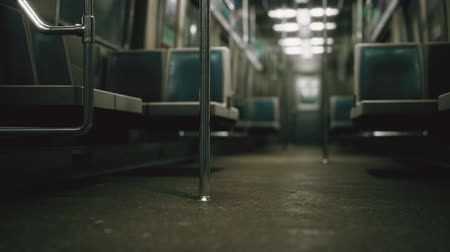 expressar : Inside of the old non-modernized subway car in USA Stock Footage