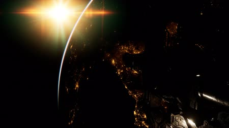 sputnik satellite : Flight Of Space Station On The Background Of The Rising Sun Stock Footage