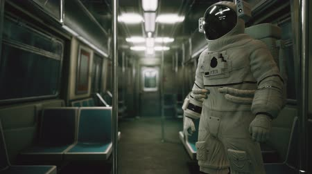 муниципальный : Astronaut Inside of the old non-modernized subway car in USA