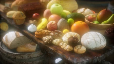 groene pepers : food table with wine barrels and some fruits, vegetables and bread
