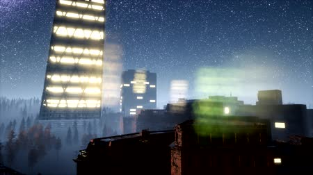 미드 타운 : city skyscrapes at night with Milky Way stars