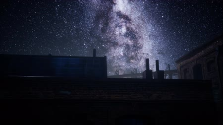 созвездие : Milky Way stars above abandoned old fatory
