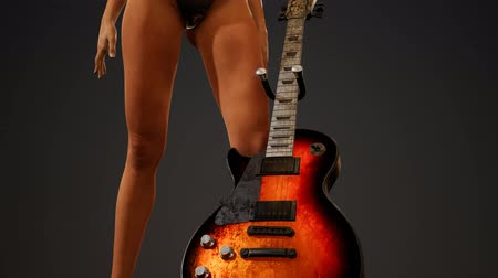 duygusallık : Rock and roll woman with an electric guitar and wearing a bikini