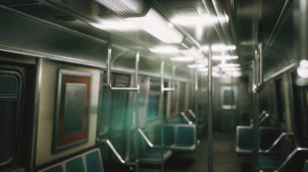 муниципальный : Inside of the old non-modernized subway car in USA Стоковые видеозаписи