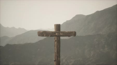 resurrection : wooden Crucifix cross at mountain Stock Footage