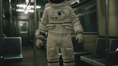 rapid transit : Astronaut Inside of the old non-modernized subway car in USA