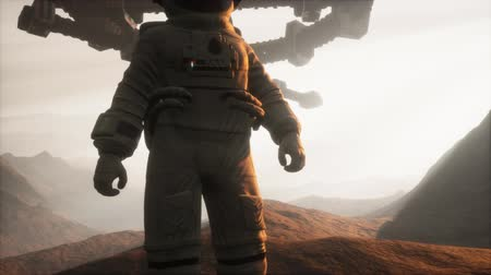 craters : Astronaut walking on an Mars planet