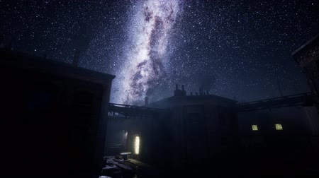 astro : Milky Way stars above abandoned old fatory