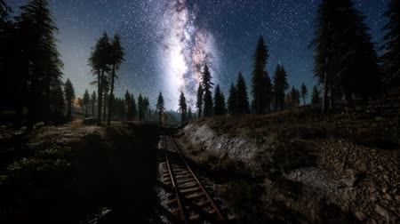 milky way : The milky way above the railway and forest Stock Footage