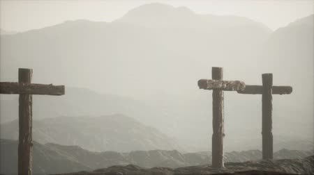 wooden Crucifix cross at mountain Стоковые видеозаписи