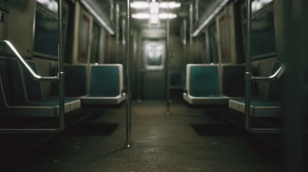 rapid transit : Inside of the old non-modernized subway car in USA Stock Footage
