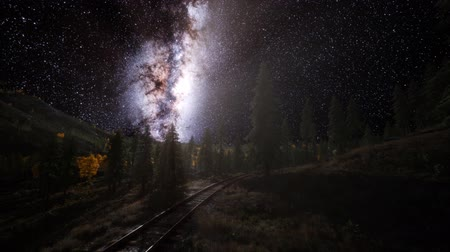 The milky way above the railway and forest Стоковые видеозаписи