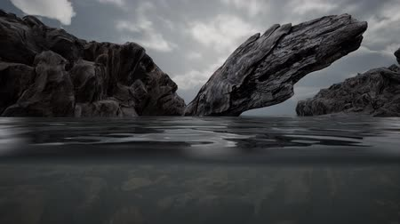 Half underwater in northern sea with rocks Стоковые видеозаписи