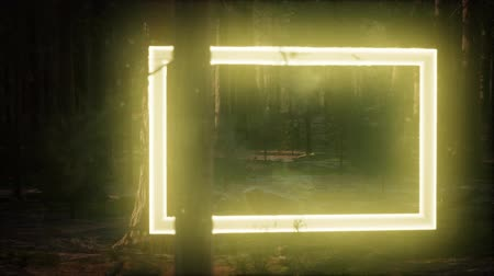 vibráló : Neon glowing rectangle frame in the night forest Stock mozgókép