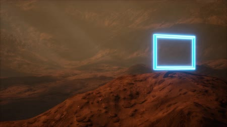 Neon Portal on Mars Planet Surface With Dust Blowing Стоковые видеозаписи