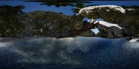 VR 360 cave paradise blue sea and sky. paradise on beach tropical island