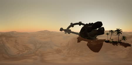 VR360 old rusted alien spaceship in desert. ufo Стоковые видеозаписи
