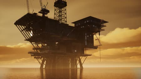 rurociąg : Offshore Jack Up Rig in The Middle of The Sea at Sunset Time Wideo
