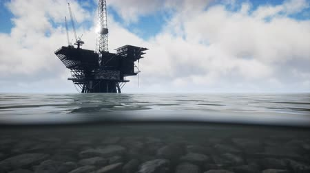 petróleo : Large Pacific Ocean offshore oil rig drilling platform