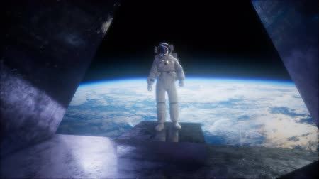 universe inside : astronaut on the space observatory station near Earth