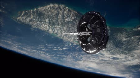 パネル : futuristic Space satellite orbiting the earth 動画素材
