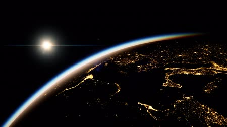 kıtalar : Space, Sun and planet Earth at Night