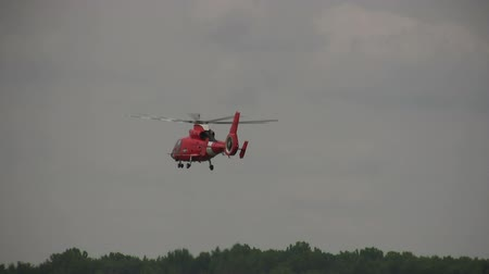 copter : Coast Guard helicopter in flight Stock Footage