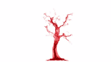 оказывать : Conceptual art of blood cells traveling through a vein. Growing like a red liquid particle tree isolated on white background