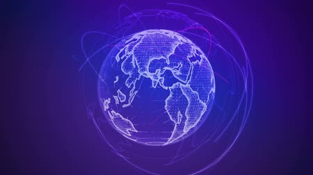 к северу : Wireframe Globe. loops seamlessly. Plexus Abstract Background, Slow Rotating Full HD Стоковые видеозаписи