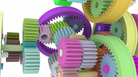 deceleration : Colorful gears rotatation loop. Full HD 3d render Stock Footage
