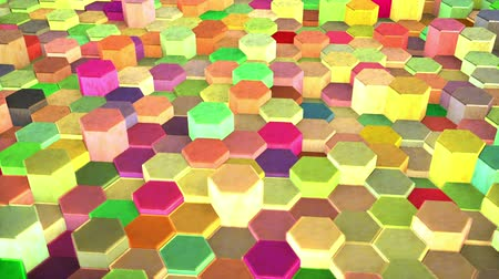 levantado : Hexagons Blocks Lifted randomly rotation 3d render Loop Full HD