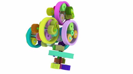 deceleration : Colorful gear that rotates to rotate engaged. Full HD 3d render